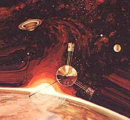 Painting of Pioneer 10 by Rick Guidice