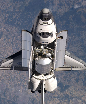 image of the space shuttle in flight