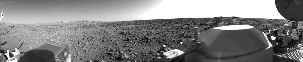 First panoramic view of the surface of Mars taken by the Viking 1 Lander